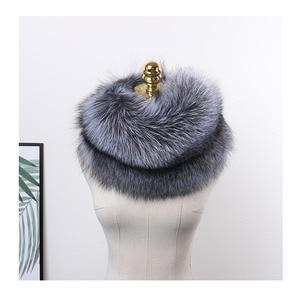 Image 1 - MS.MinShu роскошный шарф из натурального Лисьего меха, шарф из лисьего меха, большой размер, шаль из натурального Лисьего меха, зимний женский палантин, бесплатная доставка