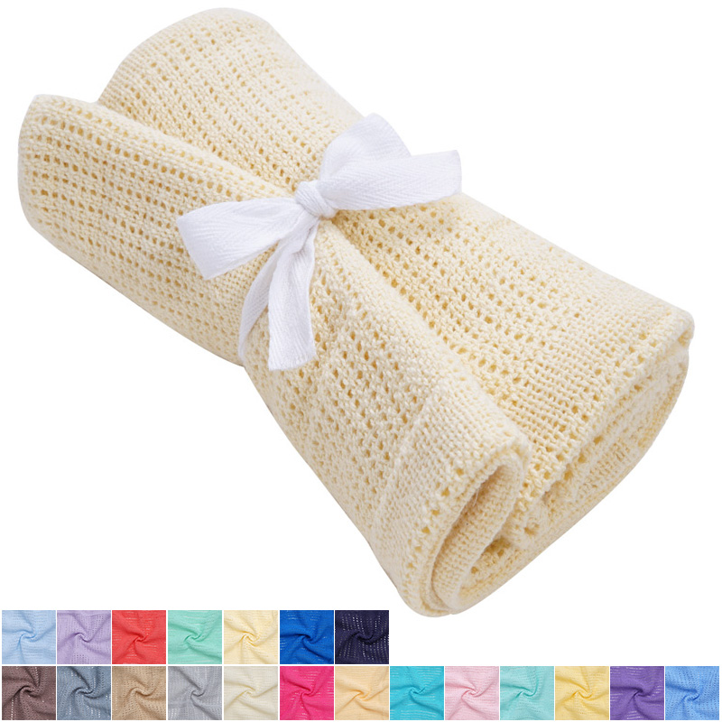 Newborn Baby Cellular Blankets 100%Cotton Stroller Sleep Baby Bed Accessories Fashionable Swaddle Envelope For Kids Bath Towel