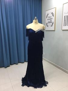 Image 5 - Arabic Wavy Emerald Green Tassel Evening Dress Mermaid Long Crystal Off the Shoulder Elegant Women Formal Prom Dresses in Dubai