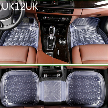 uk12uk universal 64*47cm non-slip car floor mats car mats car floor mat Transparent black 5pcs/set free shipping