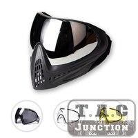 F1 tactical paintball goggle térmica máscara facial completa anti fog lente de alta visão ajustável ao ar livre airsoft paintball tiro máscara|Máscara facial p/ ciclismo| |  -