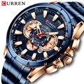 Curren Мужские часы Топ люксовый бренд большой циферблат синий кварцевые мужские часы хронограф спортивные наручные часы мужские часы из нерж...