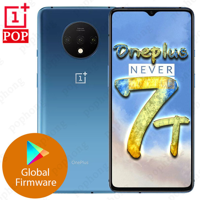 Global Firmware Oneplus 7T Mobile Phone 6.55 inch Snapdragon 855 Plus Octa Core Android 10 in screen unlock 48MP Cameras