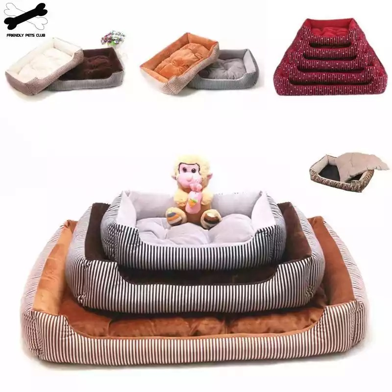 5 Size Pet Bed Dog Warm Pad Winter Mat Striped Pet Products Small Medium Large Big Sized Kennel Waterproof Pet Nest