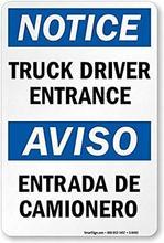 Aviso-entrada do motorista do caminhão, sinal de segurança aviso-entrada estanho sinais de metal sinal de aviso de rua de estrada