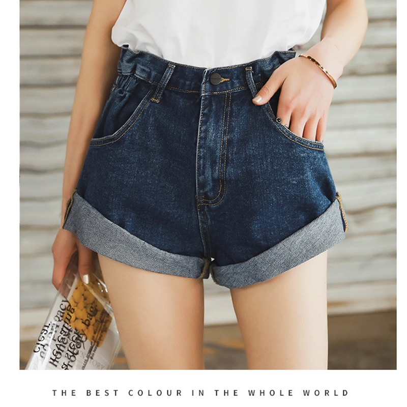 Vintage High Waist Crimping Denim Shorts Women 2019 Korean Style Casual Shorts Jeans Summer Hot Short Pants Women