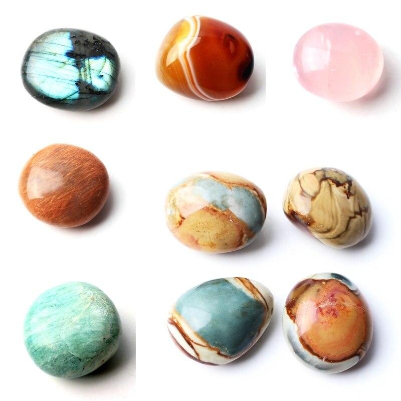 1PC Natural Crystal Labradorite Agate Amazonite Sunstone Tumbled Stone Polished Palmstone Pocket Stone Reiki Healing Gift