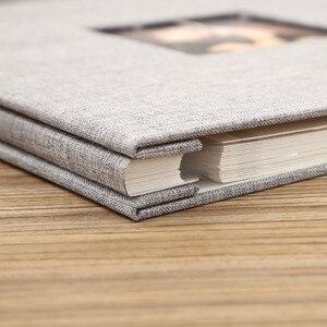 Image 3 - Linen Cover Picture Album Self adhesive Film DIY Handmade Scrapbook Memory Photo Book Sticky Type Grey Home Decor