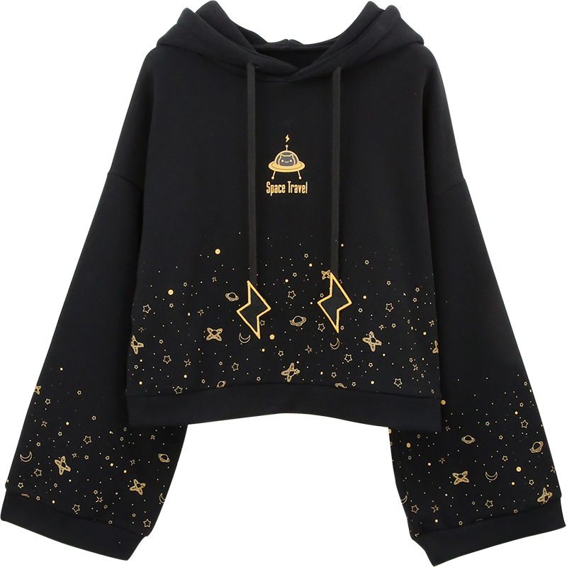 Black Sweatshirt Women Flare Sleeve Thick Hoodies Japanese Lolita Girl's Hoodie Space Print Sweatshirts Pollovers