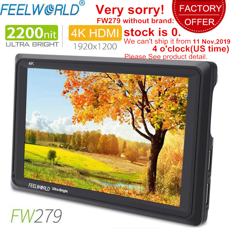 Feelworld fw279 7 Polegada ips 2200 lêndeas câmera monitor de campo 4 k saída entrada hdmi 1920x1200 lcd monitor para dslr stablizer