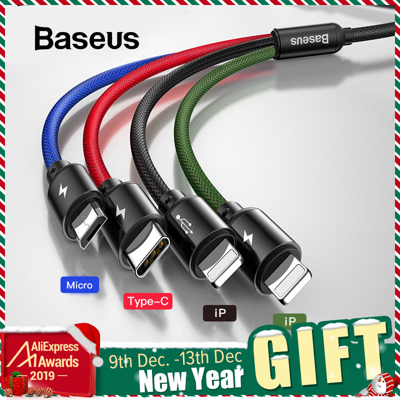 Baseus 3 in 1 USB Cable for Mobile Phone Micro USB Type C Charger Cable for iPhone Charging Cable Micro USB Charger Cord