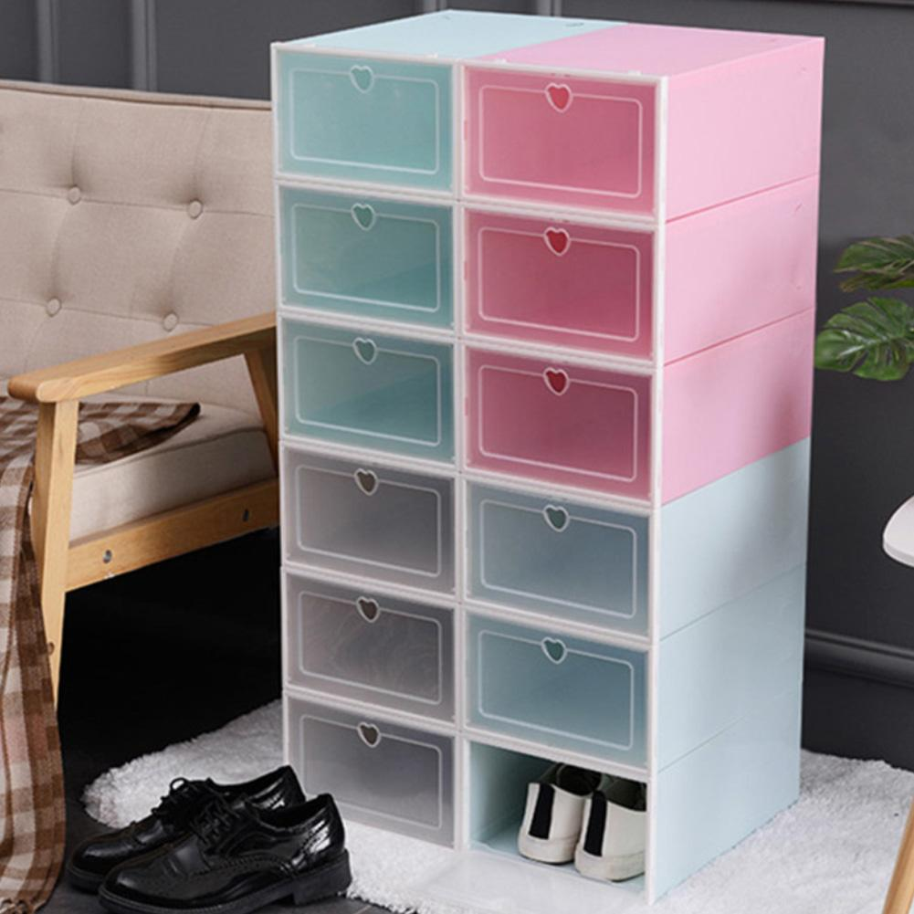 Clear PP Stackable Dust-proof Flip Drawer Shoes Box Home Storage Container Organizer Plastic Shoe Boxes Stackable Storage Boxes