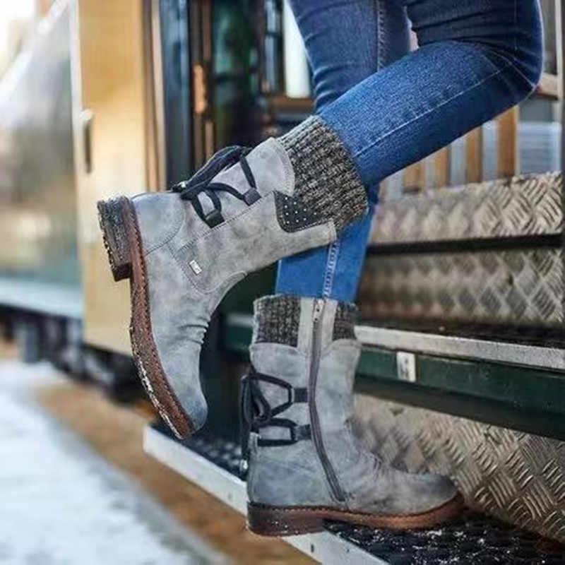 Ấm Giày Bốt Nữ Mới Thu Đông PU Cổ Điển Miếng Dán Cường Lực Nữ Phẳng Phối Ren Nữ Giày Nữ Ủng Đan Giữa Bắp Chân giày