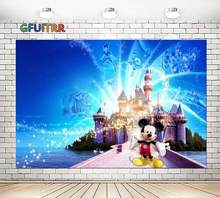GFUITR Disneyland Mickey Mouse Photography Backdrop Kids Birthday Party Background Blue Castle Shadow Vinyl Photo Studio Prop(China)