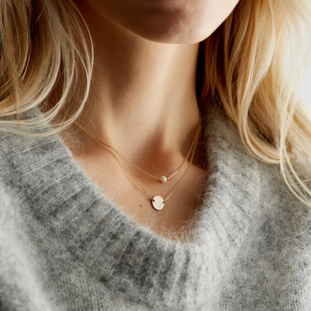 SUMENG 2021 New Classic Gold/Silver Color Necklace Simple Imitation Pearl Pendant Choker Necklace Chain Necklaces For Women Gift