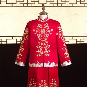 Image 2 - 2020 מכירה מוגבלת חתן טוקסידו הוא חליפה, חתן, אביב קיץ 2020, עתיקות חתונה טאנג גברים של סיני שמלה סיטונאי