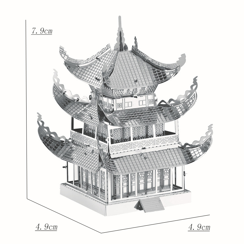 3D Gold Puzzle Model Building Yueyang Tower Educational Toys DIY Laser Cutting Primary Difficult Kids Toys Adult Education Gifts