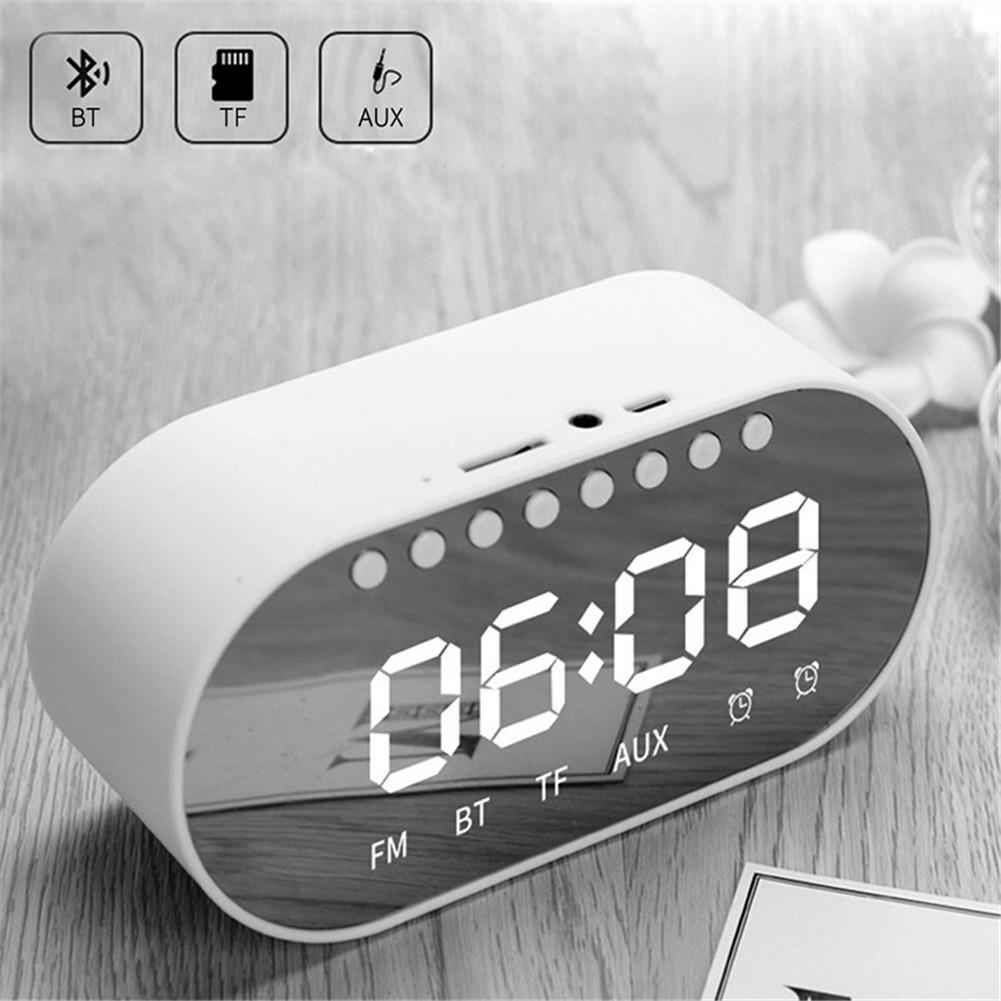 LED Alarm Clock Radio Home Bedroom Clock Wireless Bluetooth Speakers Dual Alarm Clock/ FM Radio/ AUX-in/ TF Card/ Flash Drive(China)