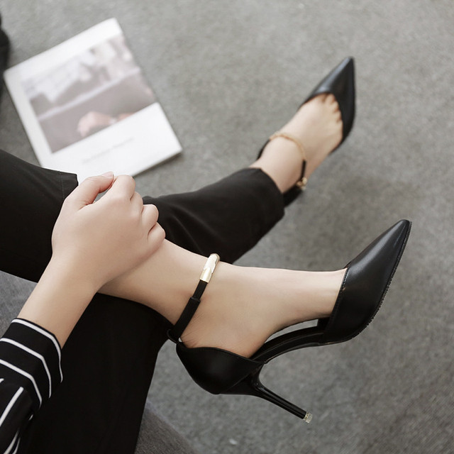Sexy Spring/Autumn Pointed Toe Thin Heel high heels big size 33-43 women shoes fashion red wedding Buckle Strap sandals