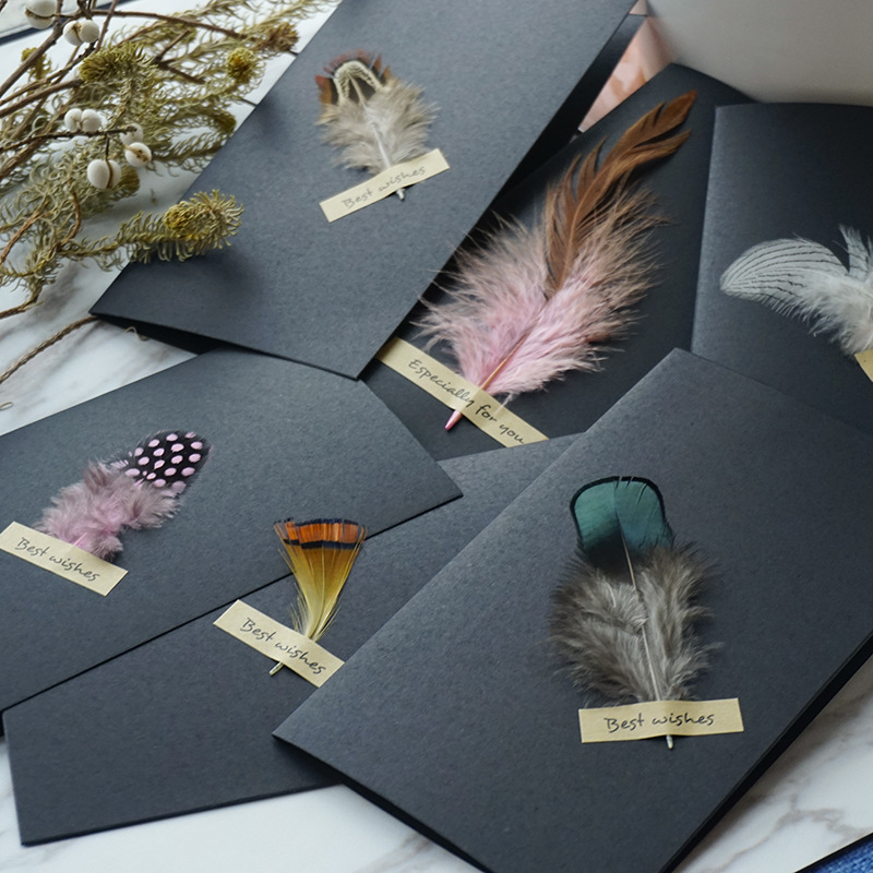 1pc Black High-grade Stereoscopic Card Envelope True Feathers Greeting Card Invitation  Holding Thanks You Cards Kawaii