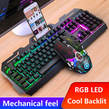 Gaming Keyboard and Mouse Wired Metal Keyboard RGB Backlight Keyboard Mouse Combo Set Gamer Kit 4000Dpi Silent Gaming Mouse Set