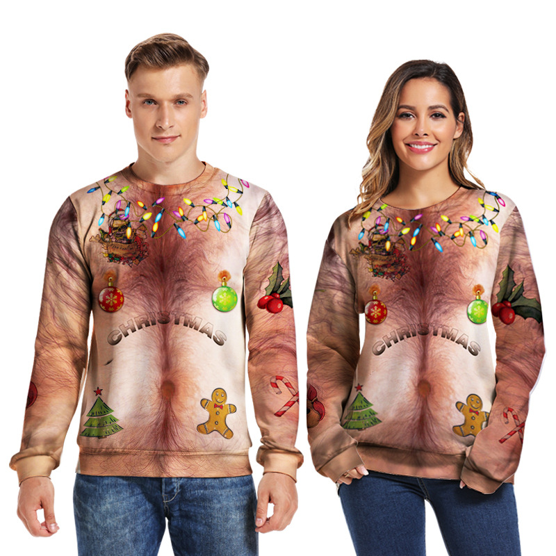 Ugly Christmas Sweater Men Chest Hair Print Casual Unisex Santa Mens Pullover Christmas Sweater Autumn Winter Novelty Male Tops