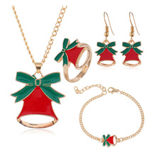 Fashion Christmas Gold Jewelry Set Christmas Bell Necklace/Bracelet/Earring/Ring Jewelry Sets Gift for Christmas Day 2019 New merry christmas santa claus jewelry sets lovely enamel father christmas dangle earrings ring necklace bracelets jewelry set gift