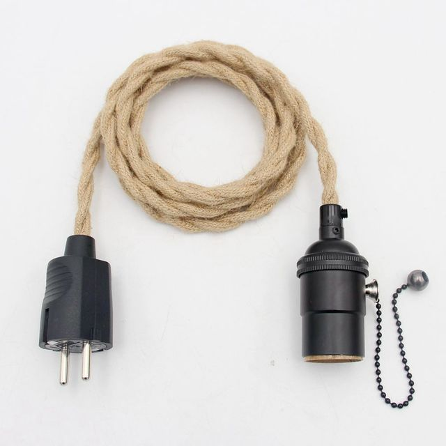 Vintage Light Decoration European Plug Hemp Cord Covered Power Cord With Switch E27 Vintage Lamp Holder Lamp Cords 6