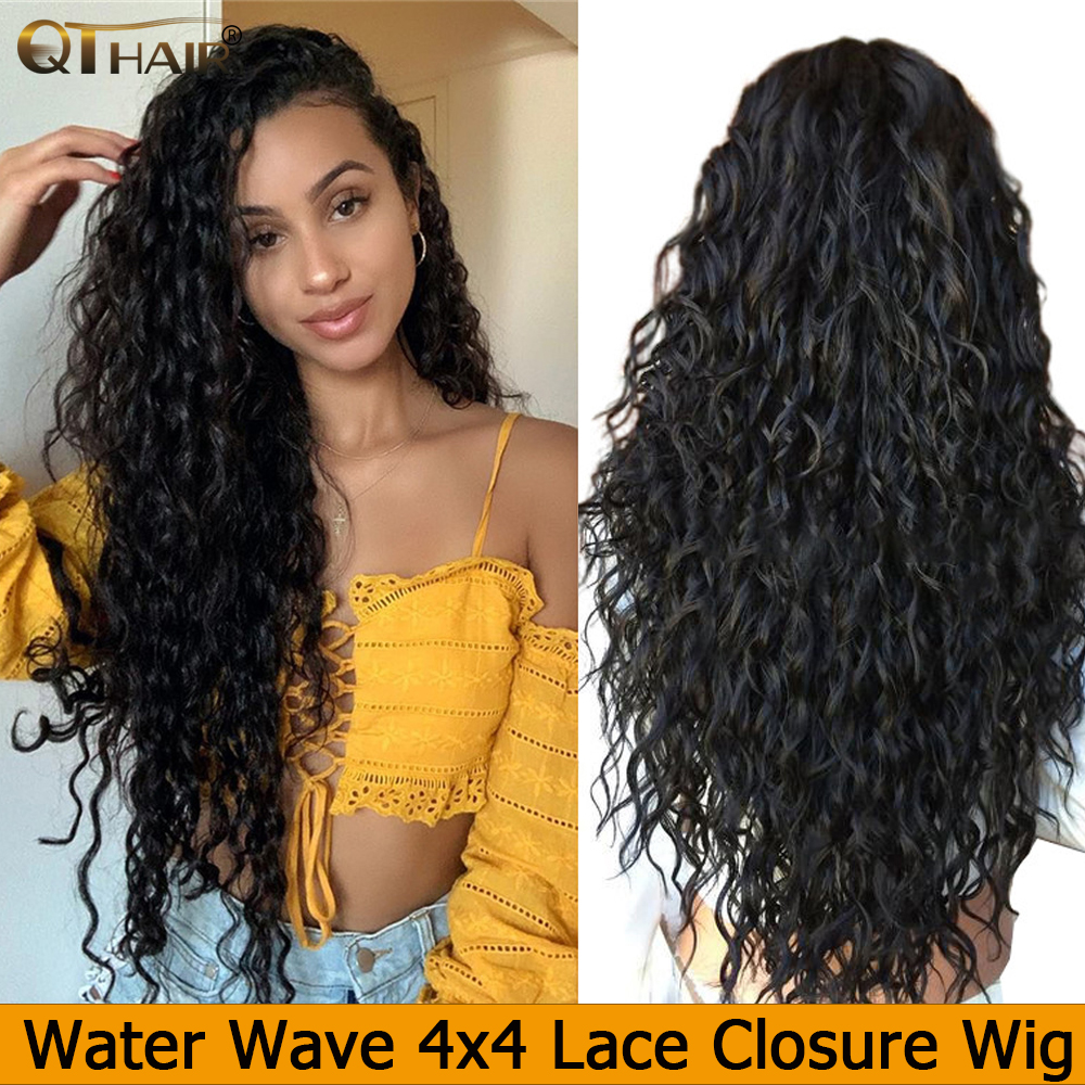 Lace Wigs Closure Qt-Hair Water-Wave Women Brazilian Brown 4X4 Medium for 150%Density title=