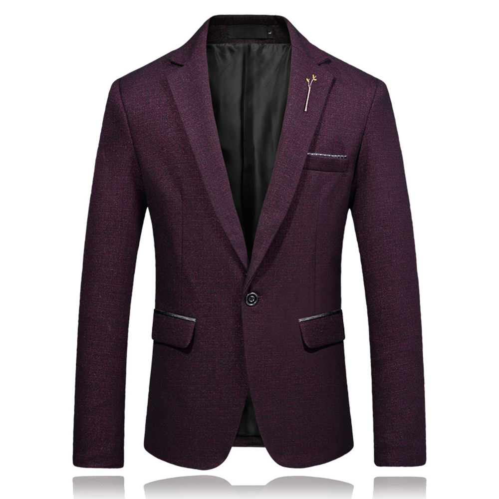 Male Casual Blazer Slim Fit One Button England Style Suit Jackets Plus Size M-5XL Business Menswear Black Navy Wine Red Clothes