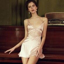 Robe pyjama d'été en soie glacée pour femme, tenue de nuit à bretelles fines et douces, rose et noir, vêtement de tentation
