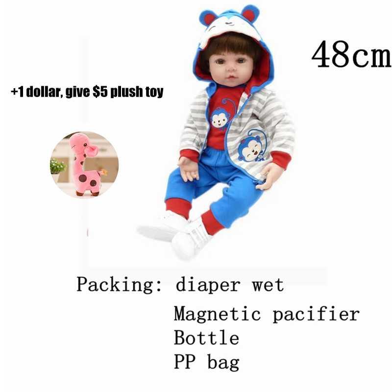 リボーンドールデシリコーンガールボディ 47 センチメートル愛らしい人形のおもちゃ boneca Bebe 人形ベビー誕生日/ クリスマスギフト