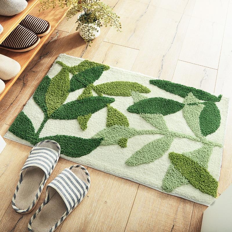 Green Leaves Flocking Bath Mat Non Slip, Green Bathroom Rug