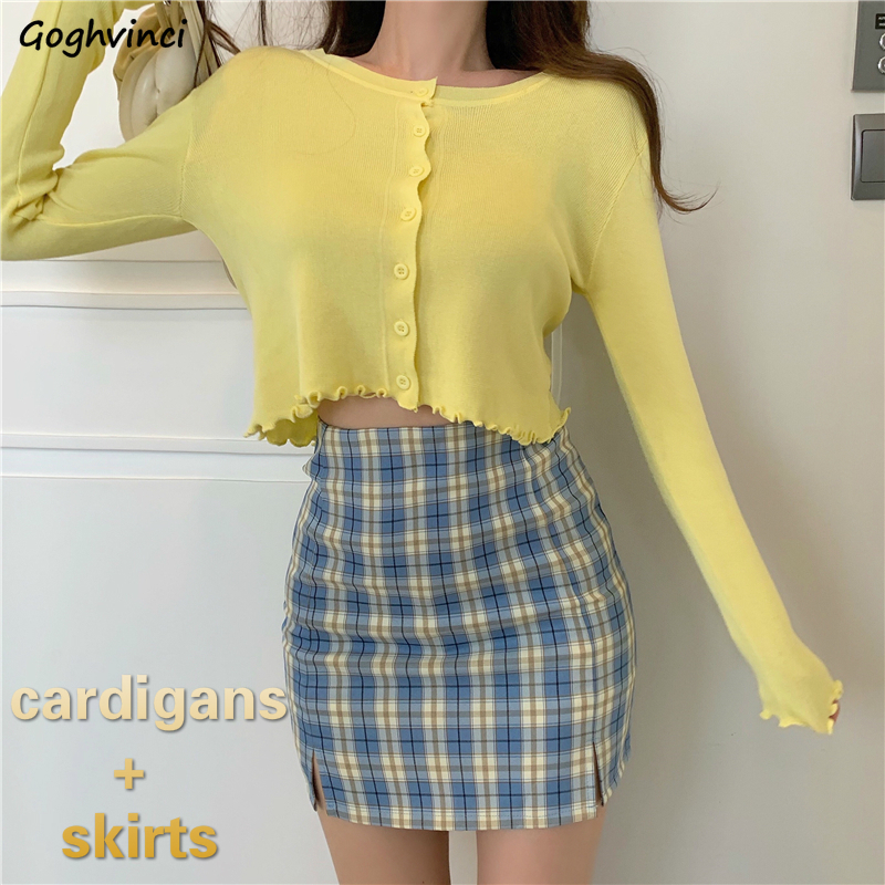 Women Sets Solid Long Sleeve Short Style Cardigans Plaid Bodycon Side Slit High Waist Skirts Womens Leisure Two Piece Sets New