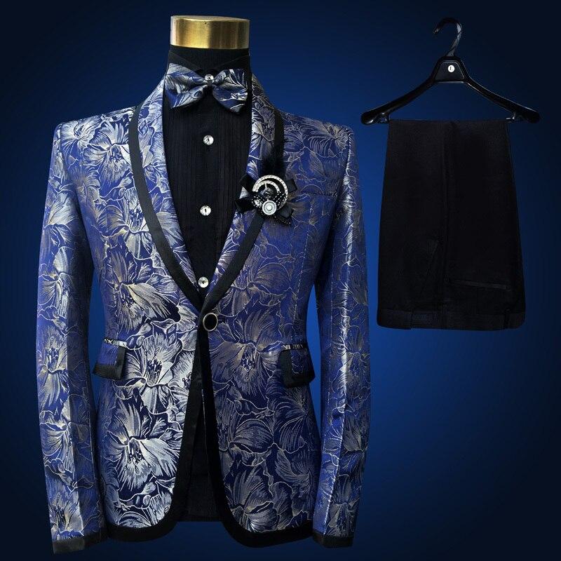 Image 2 - PYJTRL Men Shawl Lapel 3 Piece Set Suit Blue Floral Pattern  Jacquard Wedding Groom Singers Prom Costume Latest Coat Pant  DesignsSuits