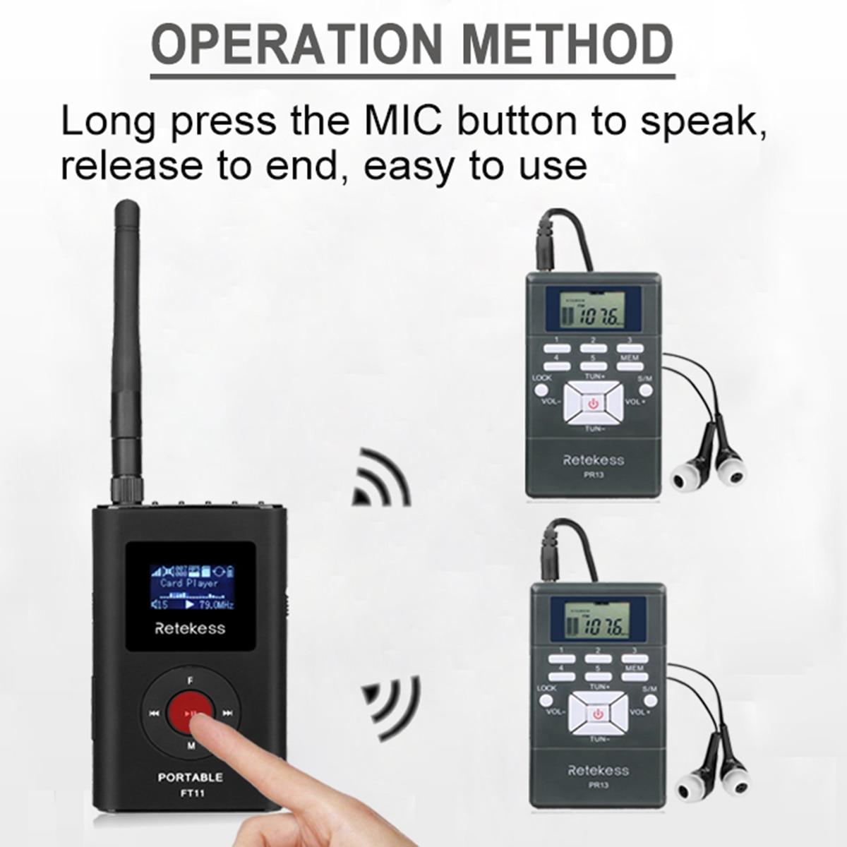 1 fm передатчик FT11 + 10 fm радиоприемник PR13 Беспроводная система передачи голоса для обучения церковным митингам - 3