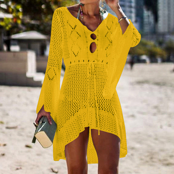 Loozykit 2019 Women Crochet Knitted Cover Up Dress Beach Tunic Long Pareos Bikini Cover Bathing Suits Beachwears Robe Plage 12