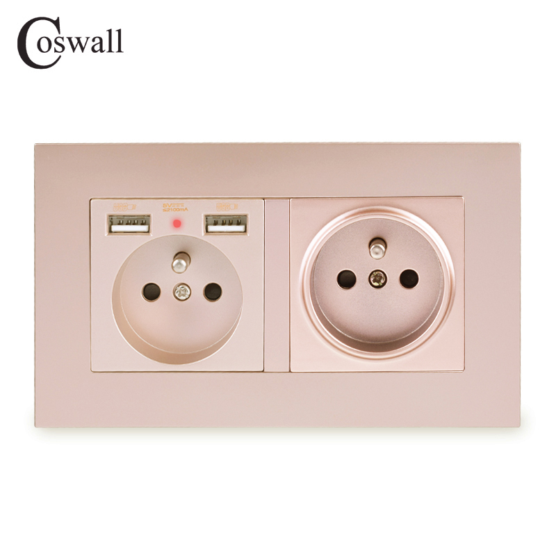 COSWALL 2 Gang French Standard Wall Socket With 2 USB Charge Port Hidden Soft LED Indicator PC Panel Black White Grey Gold