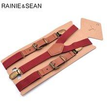 Кожаные подтяжки rainie sean для мужчин и женщин красные винтажные