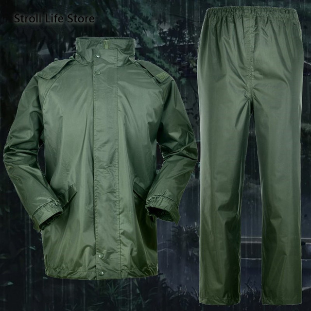 Outdoor Green Raincoat Set Men Rain Pants Handed Over Package Motorcycle Rain Coat Military Poncho Rainwear impermeable gift 4