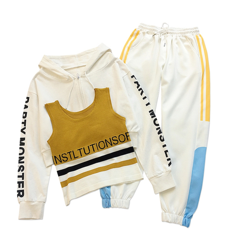 Autumn new sports suit female loose large size vest + jacket + pants foreign fashion sports three-piece suit 6