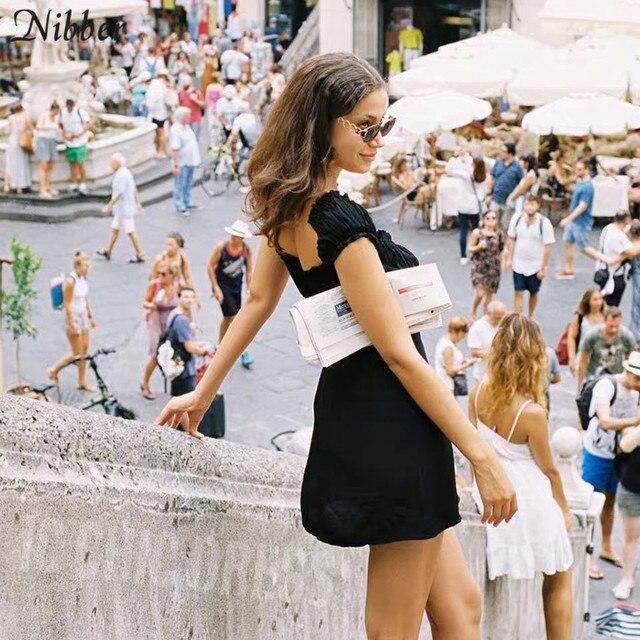 Nibber kpop puff sleeve sexy low collar slim black dresses woman elegant simple high street female fashion party club mini dress 5
