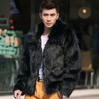 Mixed Leather Female Low Collar Furry Winter New Warm And Comfortable Artificial Fur Long Sleeve Low Collar Lapel European Style