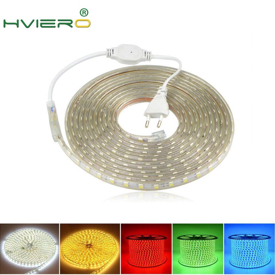 Waterproof 5050 SMD Led Tape AC 220V Flexible Led Strip Holiday Light Desk Lamp Book Bulb Outdoor Garden Lighting With EU Plug