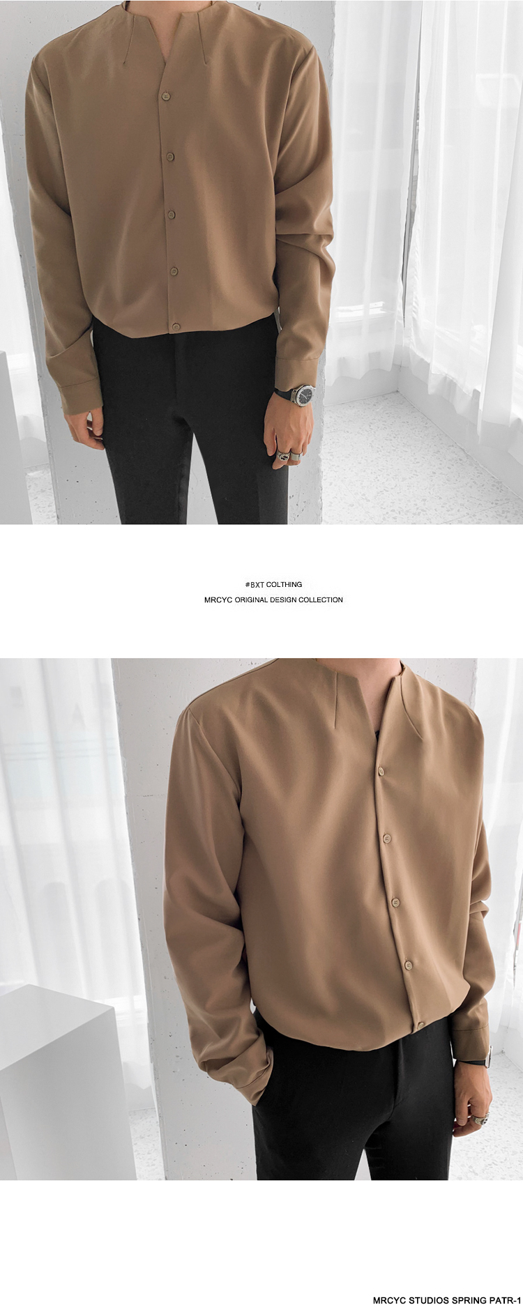 H1e65f2b87ded49f2becc24b3729af8e1B IEFB /men's wear 2020 autumn casual stand collar solid color shirt for male Personality Trend Handsome Long Sleeve s 9Y899