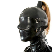 Full Cover Latex Hood with Hollow Braid Tube Can Customize Blond Wig Rubber Mask sex toys for couples bdsm mask sex games estim