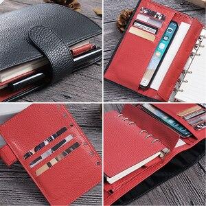 Image 3 - Lederen Notebook A6 Size Planner Litchi Grain Organisator Ringen Bindmiddel Cover Dagboek Dagboek Schetsboek Agenda Grote Pocket