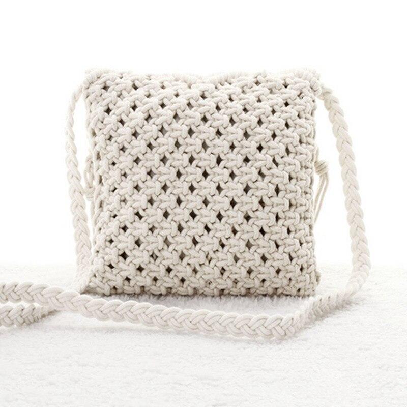 Fringe Tassel Crossbody Shoulder Bag Woven Handmade Boho Beach Travel Handbag For Women,White