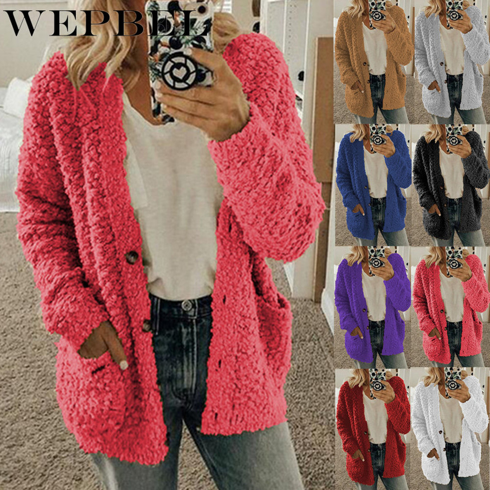WEPBEL Women Winter Fashion Loose Long Sleeve Solid Color Plush Cardigan Sweater Coat Tops Button Casual Outwear S-5XL