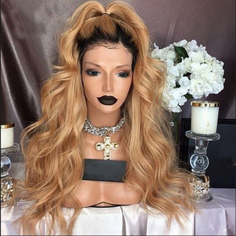 Dark Roots Ombre Brown Natural Wave Women Queen Daily Makeup Synthetic Lace Front Wigs Heat Resistant Blonde Long Wavy Wig 24in